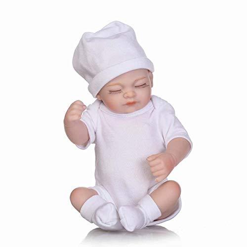 Jolie Reborn Baby Muñecas Bebé Durmiendo Mira Real Traje Blanco 10 Pulgadas (26 Cm)