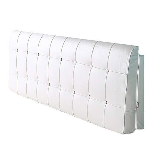 LIQICAI Respaldo Grande Almohada Tapizado Cabeceros De Cama PU Hermoso Y Práctico Estilo Sencillo Y Clásico, 10 Colores, 5 Tallas (Color : Blanco, Tamaño : 180x5x58cm)
