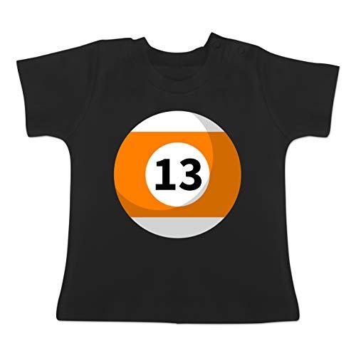 Karneval und Fasching Baby - Billardkugel 13 Kostüm - 1/3 Monate - Schwarz - BZ02 - Baby T-Shirt Kurzarm
