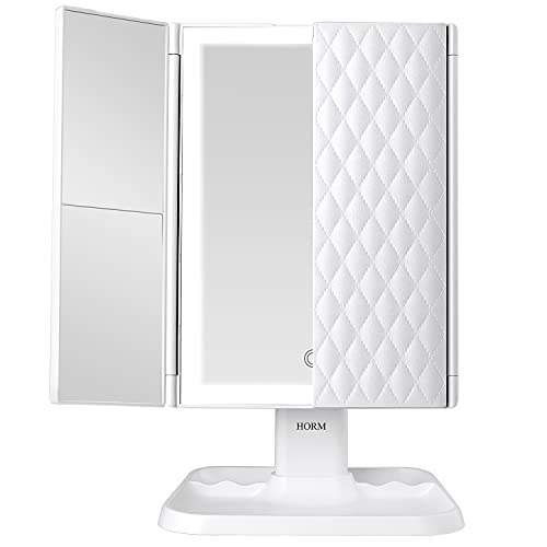 Makeup Mirror Vanity Mirror with Lights - 3 Color Lighting Modes 72 LED Trifold Mirror, 1x/2x/3x Magnification, Touch Control Design, Portable High Definition Cosmetic Lighted Up Mirror