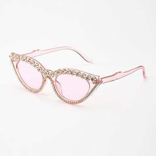 HAOMAO Vintage Small Frames Unique Shades Gradient Diamond Cat Eye Gafas de Sol para Mujer 4Pink