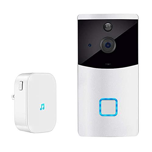 BAOZUPO Timbre con Video WiFi, cámara Tuya Alexa Google Smartlife 1080P HD, interfono inalámbrico Inteligente Audio Talk IR Visión Nocturna Detector de Movimiento PIR, Timbre + Timbre
