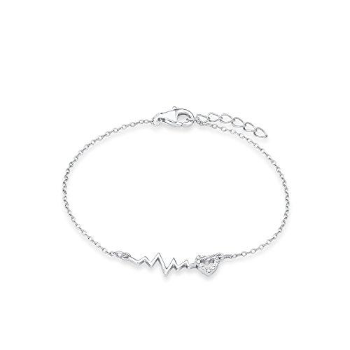 s.Oliver Kinder-Armband Teenager Girls Herz 925 Silber rhodiniert Zirkonia weiß 18 cm - 565530