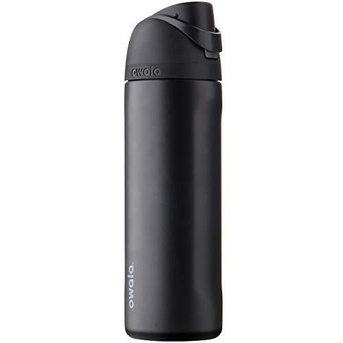 Owala Garrafa de água de aço inoxidável FreeSip com tampa de botão, 710 ml, Very, Very Dark