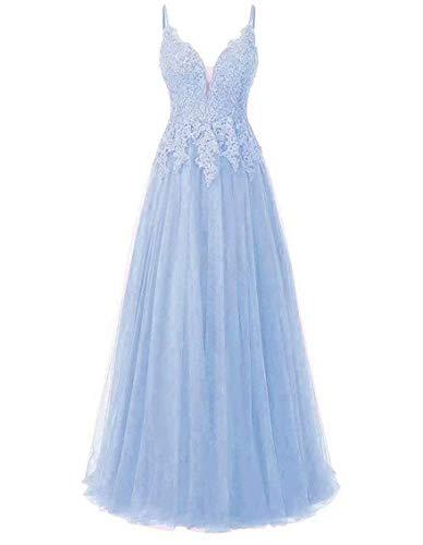 Carnivalprom Damen Spitze Abendkleider Für Hochzeit Elegant Brautkleid Spaghetti-Träger Ballkleider(Blau Lang,32)