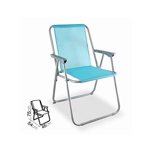 Cisne 2013, S.L. Klappstuhl aus Aluminium mit Armlehnen für Strand, Garten oder Outdoor. Farbe: hellblau Klappstuhl, Sonnenliege, Maße: 75 x 54 x 45 cm. Farbe: hellblau