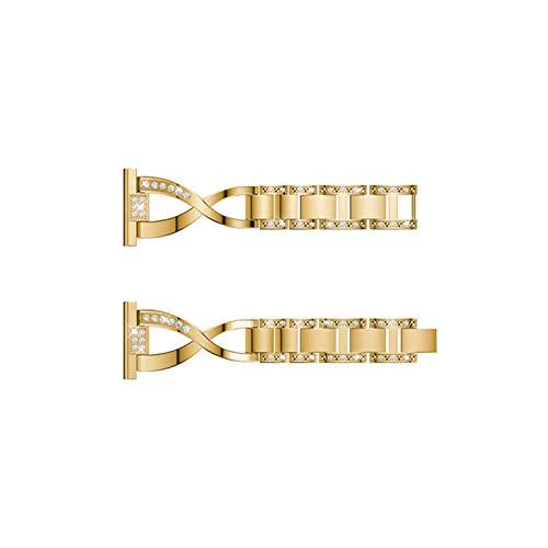 YUSWPX Orologio in Metallo, Uomo, Semplice Orologio da Donna Catena Intelligente Cinghia di Ricambio per Orologio 38mm 42mm (Band Color : Gold, Band Width : Galaxy Watch 3 45mm)