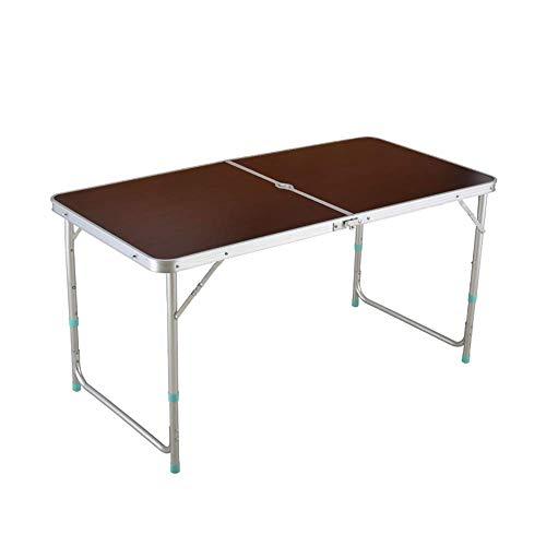 Mesa de camping portátil WYJW de 120 cm, de aluminio, altura ajustable, plegable, con orificio para paraguas, para camping, banquetes, picnic, fiesta, jardín, madera de bambú