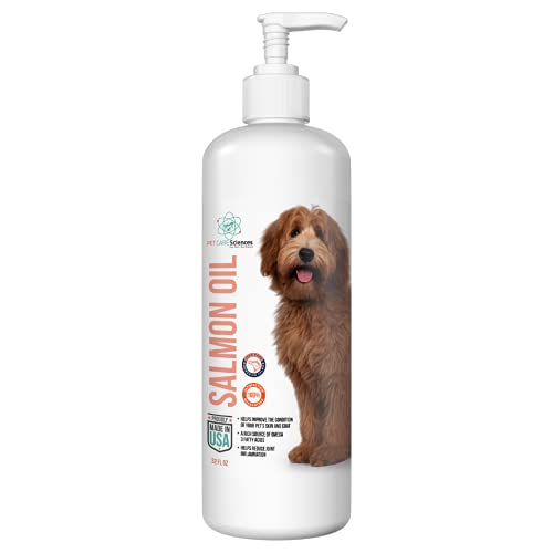 Salmon Oil for Dogs and Cats - 100% Pure Norwegian Salmon Oil  Omega 3 & 6 - Supplement For Joints  Skin & Coat  Heart  Immunity - Large 32 FL OZ bottle with Easy Application Pump Included