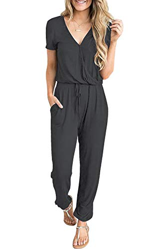 PRETTYGARDEN Women's Summer Casual Deep V Neck Short Sleeve Wrap Drawstring Waist Jumpsuit Romper Dark Grey