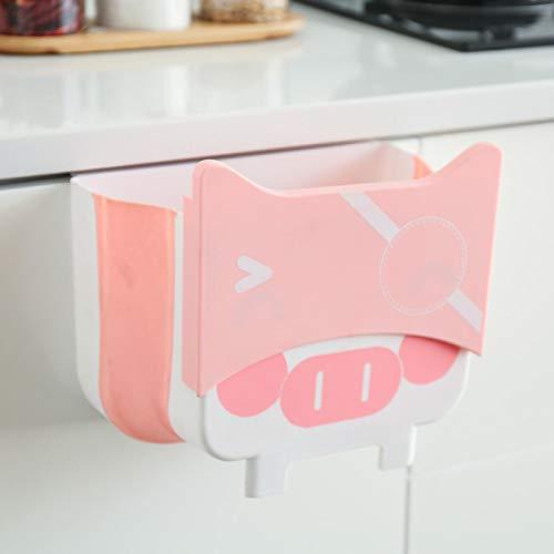 Papelera colgante, cubo de basura plegable actualizado, cubo de basura innovador, plegable, tamaño pequeño, bandeja extraíble incorporada (rosa)