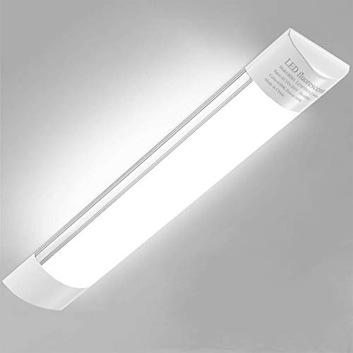 20W Pantalla Carcasa Tubo LED integrado, Sararoom 60CM Ultrafino Lamparas Cocina Techo, 2400LM Plafones LED, 6500K Blanco frio LED Mueble Luz Fluorescente LED, para Fábrica Hotel Oficina