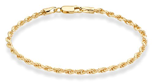 Miabella 18K Gold Over Sterling Silver Italian 2mm, 3mm Diamond-Cut Braided Rope Chain Bracelet for Men Women 6.5, 7, 7.5, 8, 8.5, 9 Inch Solid 925 Made in Italy (9, 3mm)