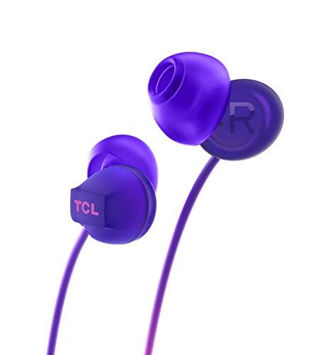 TCL SOCL300 In-Ear Kopfhörer mit Mikrofon (Geräuschisolierung, sicherer Halt, integrierte Fernbedienung und Mikrofon zur Steuerung von Musik und Anrufen, Echounterdrückung), Sunrise Purple