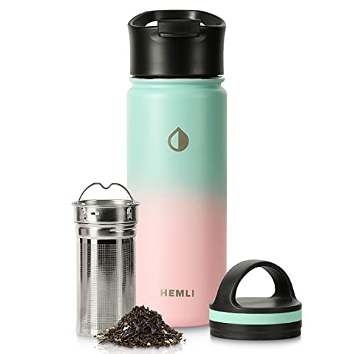 Stainless Steel Insulated Tea Infuser Bottle - 18 oz. Insulated Tea Tumbler Thermos with Removable Tea Infuser - Tea Travel Mug with 2 Lids