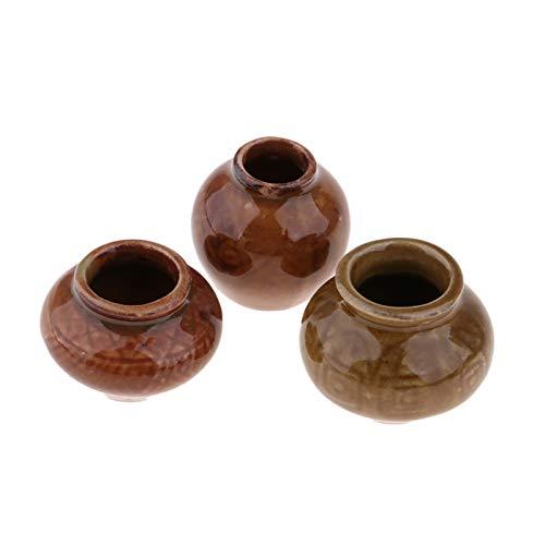 Sonoaud 3 macetas de cerámica para casa de muñecas de color oscuro, decoración del hogar, hecha a mano, de porcelana antigua realista, para regalo, decoración de muebles para niños mayores de 3 años A