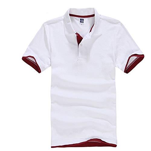 MTCDBD Herren Polo Kurzarm, Koreanische Version Lässig Atmungsaktive Weiße Rote Top-Kleidung Schnelltrocknende Stretch-Button-Trikots Kleidung Casual-T-Shirt Golf-Tennis-Arbeitskleidung Weste, L.