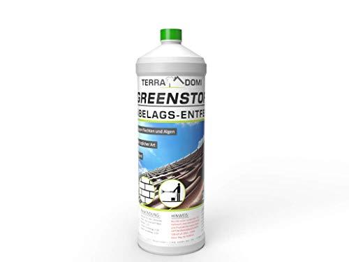 Terra Domi Greenstop, 1 Liter Konzentrat 1:60, Moosentferner für bis zu 3000 m², Dachreiniger, Grünbelagentferner, Moosvernichter,Reinigungsmittel, Steinreiniger