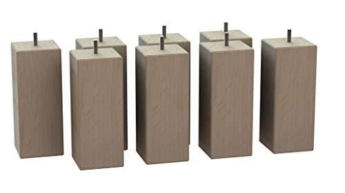 MegaluxFrance Set mit 8 Füßen für Bett, Möbel, Sofa, quadratisch aus Massivholz (Buche) 80 x 80 x 200 mm