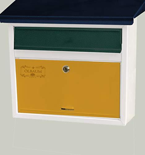 Preisvergleich Produktbild Vintage-Style Design Briefkasten,  Motiv weiss grün schwarz blau gelb rot grau violett pink metallic,  komplett mit Zeitungsrolle,  antik,  groß,  Metall mit Lackierung,  Flachdach mit Katalogeinwurf