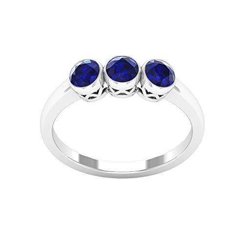 Anillo de boda de oro de zafiro azul de 1,02 ct, certificado SGL, anillo único de tres piedras, anillo de promesa de aniversario de novia clásico, 14K Oro blanco, Size:EU 50