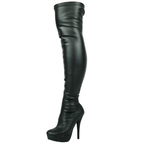 DOK136 Frauen Stilett über das Knie Strecken breite Passform Schwarze Overknee Stiefel Schuhe Größe 36 37 38 39 40 41 (45, Schwarz)