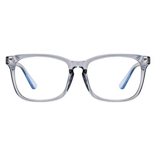 Maxjuli Blue Light Blocking Glasses,Computer Reading Gaming TV Phones Glasses for Women Men(Transparent Blue)