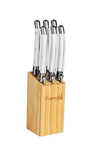 Conjunto De 6 Facas Luxo Com Cepo De Madeira Branco La Tour Branco Pacote De 6 No Voltagev