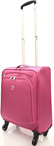 """21'/55cm Ultra Super Lightweight World's Lightest Durable Carry On Cabin Hand Luggage Suitcases Travel Bag with 4 Wheels for Ryanair, EasyJet, BA, TUI, Jet2 (21"""" Cabin, Pink)"""