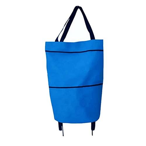 LICHUAN Carrito de la compra con ruedas, carrito de la compra plegable, bolsas de compras reutilizables bolsas de comestibles, bolsa de la compra para la compra (color: azul)
