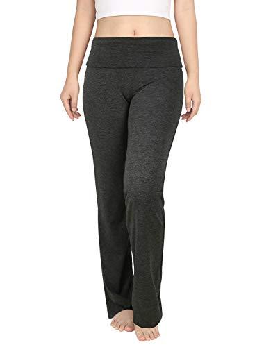 HDE Foldover Athletic Yoga Pants Gym Workout Leggings (Charcoal Gray, Large)