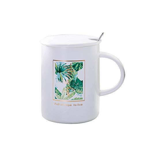 Tasses à café en Porcelaine de Tasse à thé de thé élégant_RG, Tasse en céramique de nouveauté de Feuille Verte de Cactus avec Le Couvercle avec la cuillère