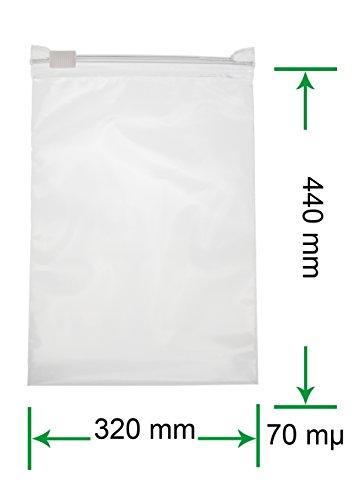 HeiZip 50 x Ziehverschlussbeutel 320 x 440 mm DIN A3, 70 mµ/MY