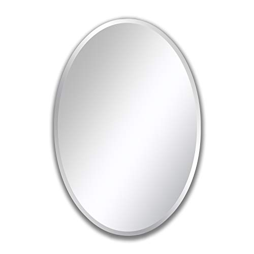 MIRROR TREND Oval Frameless Beveled Mirror with Solid Core Wood Backing Wall...