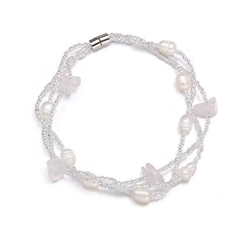 HETHYAN Pulsera de perlas de agua dulce en forma de arroz con grava de 18,5 cm para mujeres elegantes, regalo romántico de joyería (color metálico: Opal)