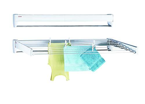 Leifheit Wandtrockner Telegant 81 Protect Plus, hängender Wäschetrockner im kompakten Format, Wäscheständer ausziehbar für Badezimmer oder Balkon