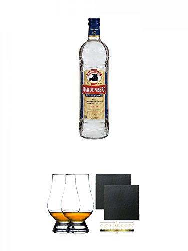 Hardenberg Doppelkorn 0,7 Liter + The Glencairn Glass Whisky Glas Stölzle 2 Stück + Schiefer Glasuntersetzer eckig ca. 9,5 cm Ø 2 Stück
