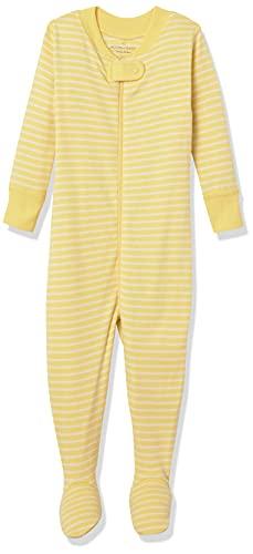 Moon and Back de Hanna Andersson - Pijama de una pieza con pies hecho de algodón orgánico para bebé, Amarillo, 6-12 messes (67-72 CM)