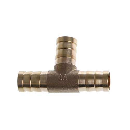 BUIDI 6-16mm Messing T Stück 3-Wege-Kraftstoffschlauch-Verbindungsstück für Luft-Öl-Gas 1 x Kraftstoffschlauch 12