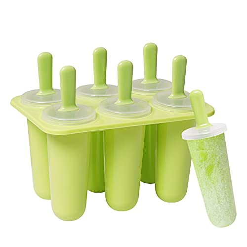 Eisformen Silikon, 6er Pack Eis am Stiel Formen, BPA Freie Wiederverwendbare Lebensmittelechte Eisform aus Silikon für Kinder und Erwachsene DIY (Grün)