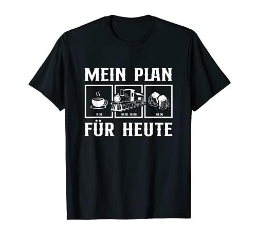 Tagesplan Kaffee Dampflokomotive Geschenk Bier Eisenbahner T-Shirt