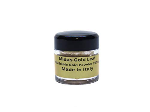 Edible Gold Leaf Flakes, Dust, Powder in Clear Acrylic Shaker. 200mg. 23K Gold Flakes Facial Mask Decorative Dishes,Genuine Gold Leaf for Cooking, Cakes & Chocolates, Decoration, Health &