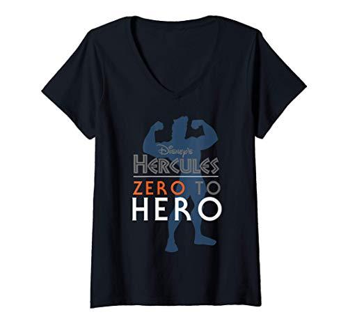 Femme Disney Hercules Zero To Hero Silhouette T-Shirt avec Col en V