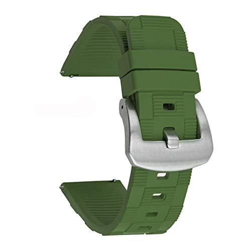 WNFYES Cordón de Reloj de Goma de 20 mm 22 mm 24 mm Ajuste para la mayoría del Reloj de la Interfaz Plana Correa de Silicona (Band Color : Army Green, Band Width : 22mm)