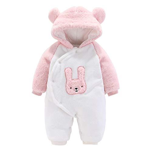 Haokaini - Mono para bebé, pelele, con forro polar, unisex, diseño de osito, algodón, con capucha Blanco y rosa. 9 mes