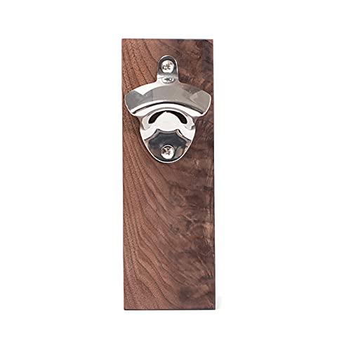 Abrebotellas Magnetismo Abrebotellas Soporte de pared de madera de acero inoxidable multifunción sólido y duradero marrón