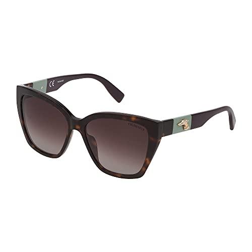 Trussardi Gafas de sol STR376 0722 56 – 15 – 140 para mujer, color marrón oscuro brillante