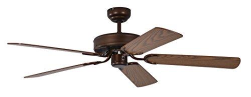 Pepeo Potkuri ventilador de techo sin luz, carcasa de bronce viejo, aspas reversibles color roble con insertos de ratán, 132 cm, para habitaciones de hasta 25 m²