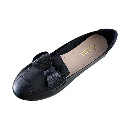 Fomino Zapatos planos para mujer, zapatos sueltos para el tiempo libre, con tacón plano y lazo decorativo, estilo mocasín, Negro , 41 EU