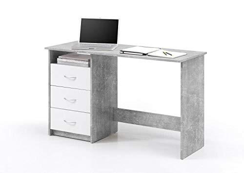 RASANTI Schreibtisch 3 Schubkästen Adria von Bega Beton/Weiss